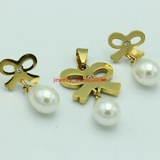Women White Pearl Stainless Steel bowknot  Necklace Pendant & Drop Earring Set