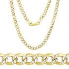 3.9mm Cuban Curb Sterling Silver 14k Yellow Gold Men's Link Chain Necklace Italy
