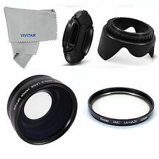 Wide Angle Macro Lens UV FILTER +HOOD+CAP FOR SAMSUNG NX1000 NIKON J1 V1 HD OPTI