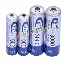 2AA+2AAA1000mAh 3000mAh 1.2V NI-MH CELL batteria ricaricabile / RC MP3 2A 3A BTY