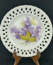 """Reticulated Decorative Wall Plate Hand Painted Floral 6"""" Collectible Vintage"""
