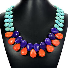 Rainbow Turquoise Bib Necklace Semi-Precious Gemstone Jewellery Tantric Tokyo UK