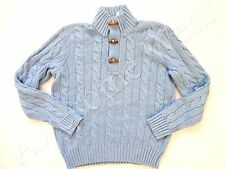 New Ralph Lauren Polo Chunky 100% Silk Blue Cableknit Toggle Sweater size XL