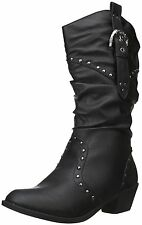 Women's Black Brown Pu Mid Knee High Cowboy Western Slouchy Boot Shoes Size 6-10