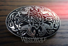 "Large Oval Celtic Horses ""Epona"" Brooch -- Medieval/Viking/Silver/Coat/Cloak Pin"