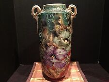 "Beautiful Large Antique Nippon Floral Raised/Textured Vase Unmarked 16""x9"""