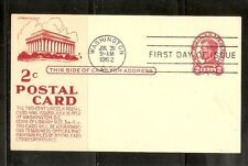 US SC # UX43 Lincoln Postal Card FDC. Anderson Cachet