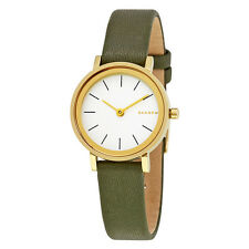 Skagen Hald White Dial Ladies Leather Watch SKW2495