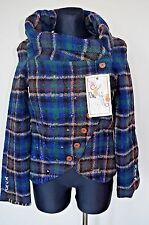 DESIGUAL S / 36 EUR SHORT COAT WOMEN'S JACKET GREEN EMBROIDERED WOOL CHECKERED