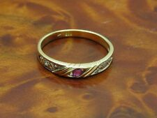 14kt 585 GOLD RING MIT DIAMANT & RUBIN BESATZ / DIAMANTRING GOLDRING