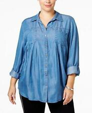Style&co. Women's Plus Size Denim 3/4 Sleeve Shirt NWT Size 3X MSRP $56 WT213