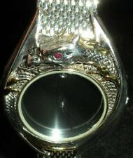 RARE Franklin Mint Watch 925 Sterling Silver w/Gold Ruby Diamond Dragon Masters