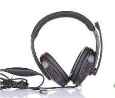 Leather USB Wired Stereo Micphone Headphone Mic Headset for Sony PS3 PC Game OK!