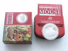 2008 Australia Lunar Mouse $1 One Dollar Silver Proof 1oz Coin Box Coa