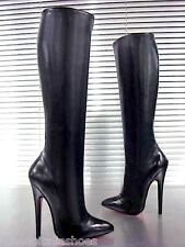 MORI ITALY EXTREME SEXY KNEE HIGH BOOTS STIEFEL STIVALI LEATHER BLACK NERO 45