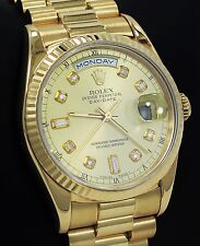 Rolex President Day-Date 18238 18K Yellow Gold Diamond Dial BOX & PAPERS MINT