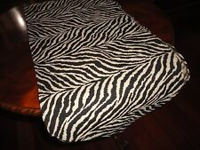 WOVEN BLACK & CREAM ZEBRA ANIMAL SAFARI TABLE RUNNER 12 X 54