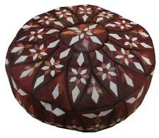 Handcrafted Moroccan Leather Ottoman Pouf Footstool #7