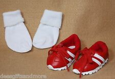 Doll Clothes fitting 18 inch Dolls Red & White Running Shoes & Socks