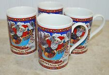 Four Dunoon Christmas Mugs Santa and Reindeer 2002 Made in Scotland