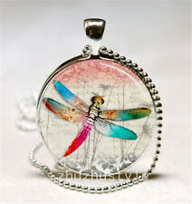 Vintage Dragonfly Cabochon Glass Necklace Pendant with Ball Chain Necklace new,