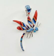 HANDMADE .925 SILVER DRAGONFLY PENDANT IN TURQUOISE/MULTICOLOR STONE INLAY