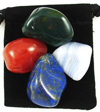 ASTHMA RELIEF Tumbled Crystal Healing Set =4 Stones + Pouch + Description Card