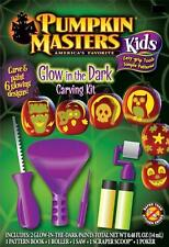 GLOW-IN-THE-DARK KIDS PUMPKIN CARVING KIT Masters Halloween Decorating Child NEW