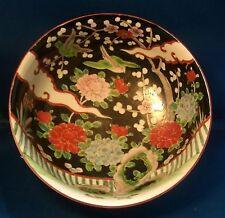 Chinese Famille Noir Porcelain Punch Fruit Bowl Export Vert
