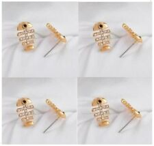 New Novelty Gold Plated Fish Skeleton Stud Earrings with Clear Gems One Pair
