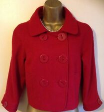 River Island Red Wool Cropped Coat Size 12 ~ 14 ~ ( 16  Stated ) ❤️ VGC