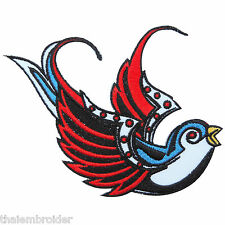 Tattoo Right Bird Swallow Swiftlet Dove Rock Biker Hippie Iron-On Patches #A013