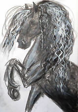 HJMcC ORIGINAL 50x70cm LARGE PAINTING HORSE ANDALUSIAN  drawing equestian art