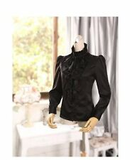 Black/White Women High Neck Blouse Vintage Victorian Ruffle Chiffon Career Shirt