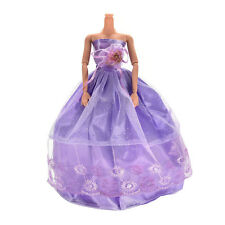 1Pcs Princess Gown Clothes for Barbies Purple Wedding Dress for Doll Accessories