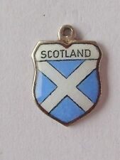 Scotland,  vintage  silver enamel shield travel charm
