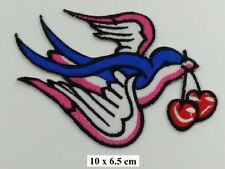 PINK TATTOO SWALLOWS & CHERRY Kitch Tattoo Ink Chic Rockabilly  Iron on  PATCH
