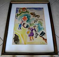 ISRAEL- HOLZMAN SHIMSHON (1907-1986)WATER COLOR ON PAPER-A WOMEN AND A MAN   P