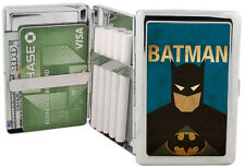 Batman Silver Metal Cigarette Case Holder Purse RFID Wallet Chrome 100's Vintage