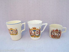 1937 Coronation HM King George Vl & Queen Elizabeth 3 Mugs Cups CWSCommemorative