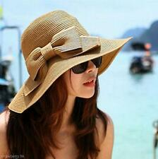 Stylish Big Bowknot Women Wide Brim Summer Beach Cap Folding Straw Weave Sun Hat