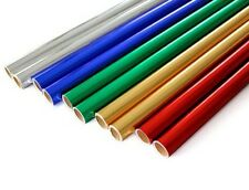 5 x METALLIC PAPER ROLLS 50 cm x 1.5M - 1 of Each Colour - BIRTHDAY / CHRISTMAS