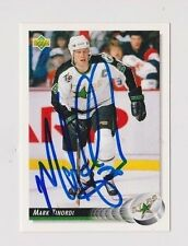 92/93 Upper Deck Mark Tinordi Minnesota North Stars Autographed Hockey Card