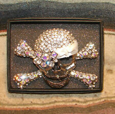 Rhinestown Bejeweled Skull & Crossbone Pirate Silver Color BHW Belt Buckle New