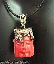 MAGNIFICENT ROSE CUT DIAMOND STUDDED CROWN ON  CORAL FACE PENDANT NECKLACE