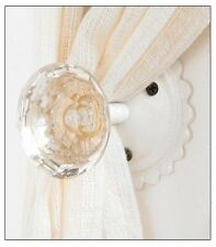 Vintage Style Clear Glass Door Knob Curtain Tie-Back White Mount Retro Hanger