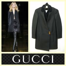 Gucci $3,200 black tricotine architectural light-weight coat~40/S