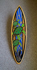 Triple Turtle Solid Wood Aquatic Surfboard Wall Art Honu Home Beach Island Decor