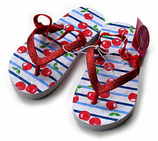 YOUNG GIRLS RED CHERRY GLITTER FLIP FLOP SANDALS WITH STRAP SIZE UK 6-7 BNWT