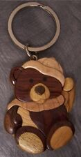 Intarsia Solid Wood Key Ring Child's Winter Teddy Bear NEW